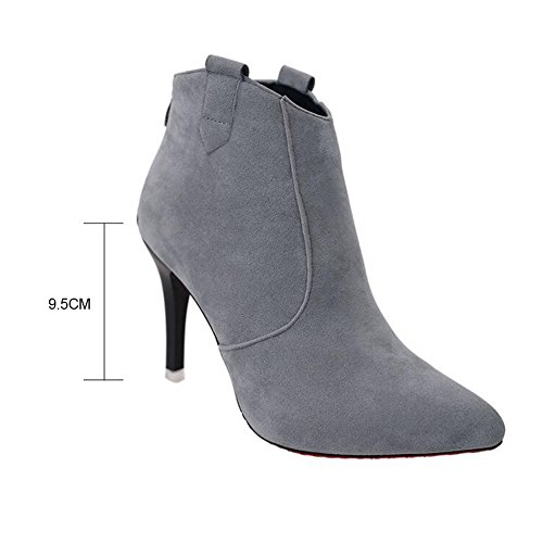 Ladies Stiletto High Heel Pointed Toe Womens Chelsea Ankle Boots Shoes Size Grey mtsgm46