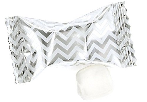 Chevron Buttermints 100ct - After Dinner Mints Individually Wrapped - Soft & Savory (Silver) -