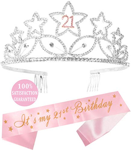Pink and Silver 21st Birthday Tiara and Sash | HAPPY 21st Birthday Party Supplies | It's my 21st Birthday Pink Glitter Satin Sash and Crystal Silver Tiara Birthday Crown for 21st Birthday Party Suppli -
