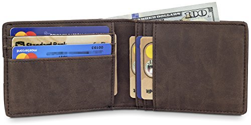"ce8da31cab6 TRAVANDO Slim Wallets for Men ""BUFFALO"" - RFID Blocking – 8 Card Slots –"