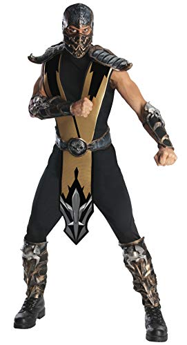The Real Mortal Kombat Halloween (Rubie's Men's Mortal Kombat Scorpion Adult Costume, Gold, One)