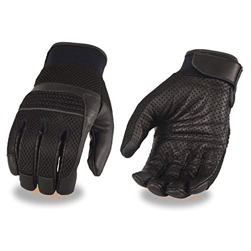 Milwaukee Leather MG7503 Men's 'Touch Screen Fingers' Black Leather and Mesh Racing Gloves - Large