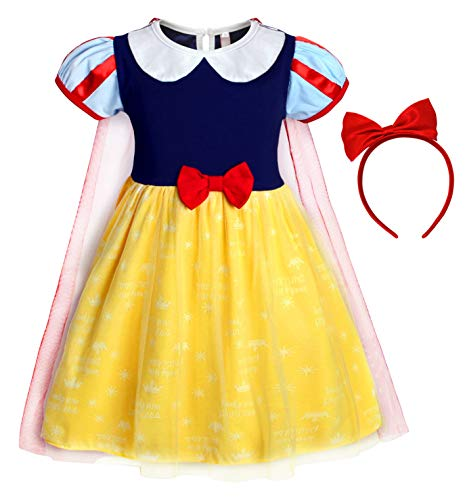 Jurebecia Little Girls Snow White Dress Girls Princess Halloween Party Costume Dress up with Headband Size -