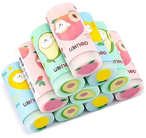 BETOY 12 pcs kawaii borradores fruta de lápiz borradores de goma ...