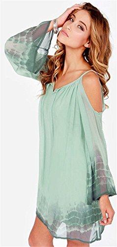 Mousseline De Soie Tie Dye Des Femmes De Fleurs Arctiques De Froid De L'épaule Mini-vert Robe