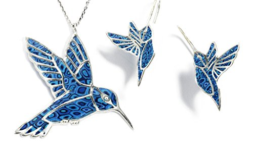 925 Sterling Silver Hummingbird Necklace Pendant and Earrings Blue Polymer Clay Bird Jewelry Set, 16.5'' Gold Filled Chain by Adina Plastelina Handmade Jewelry