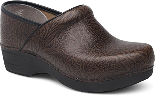 Dansko XP 2.0 Women's Stapled Clog- Brown Floral Tooled- 39 B/M EU (8.5-9 US) ()