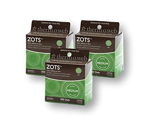 Thermoweb Zots Clear Adhesive Dots, Medium, 300 per pack (Pack of 3)