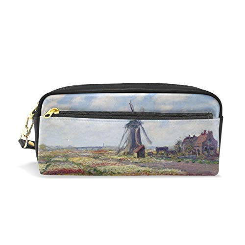 (Pencil Case Pen Bag Fields of Tulip with Rijnsburg Windmill Monet Art Stationery Pouch Cosmetic Makeup Wristlets Bag Zipper)