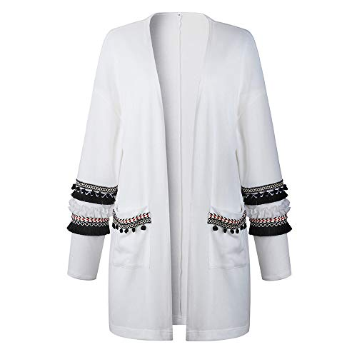 Giacca Bianca BaZhaHei Autunno Cardigan Maglieria Donna di Giacca Cappotto Donna Giacca Top Donna Lunghe Pelle Donna Donna Casuale Inverno Tassel Cappotto Maniche Cardigan Moda Cappotto Maglione q0r04n6xO