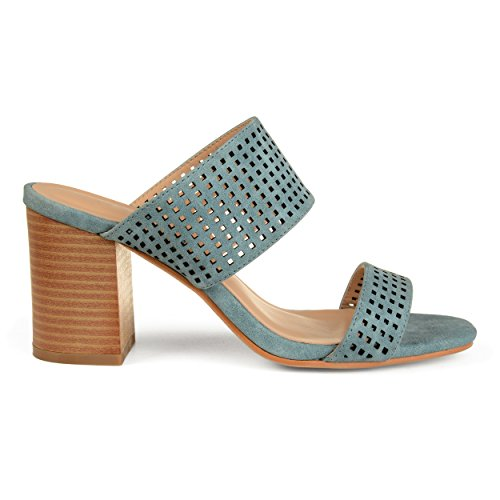 Brinley Co Womens Santos Faux Leather Laser-Cut Dual-Strap Heeled Mules Blue, 10 Regular (Mule Laser Cut)