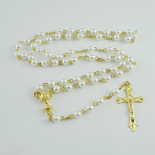 (12 Pcs First Holy Communion Glass Pearl Rosary Gold Plated Accents with Chalice Centerpiece / Primera Comunion)