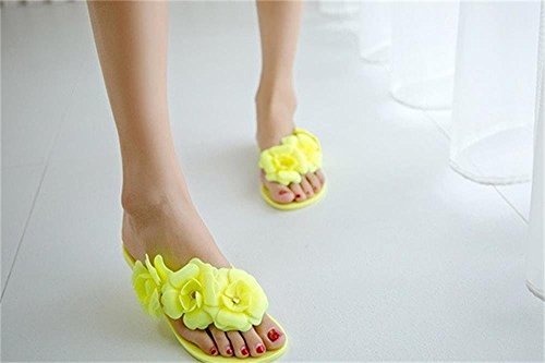 Minetom Damen Camellia Flip Flops Strand Sommer Pantoffel Zehentrenner Gummischuhe EU Größe Gelb