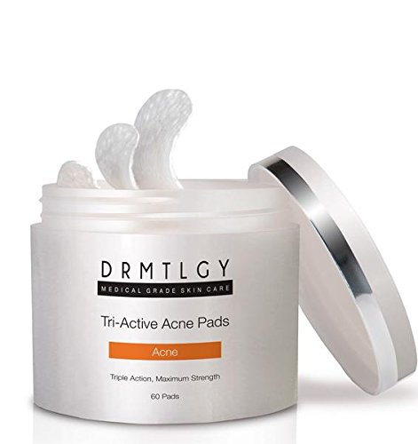 DRMTLGY Dermatologist Recommended Acne Pads. 3-in-1 Acne Treatment With Three Active Ingredients: Salicylic Acid, Glycolic Acid, Lactic Acid. Alcohol-Free For Face And Body Acne. 60 Pads