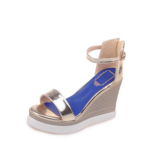 Fibbia In Pelle Vernice Amoonyfashion Donna Open Toe Con Tacco Alto In Oro