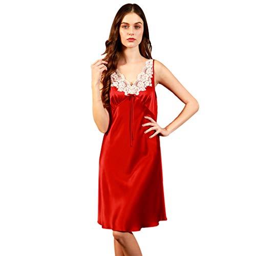 Seda Suave Dormir De Rojo Sin Mangas Una Pieza Ropa Camisones Lujosa Para Pijamas Esposa Elegantes Red Encaje Damas Cómoda Boda Y 6qzxY