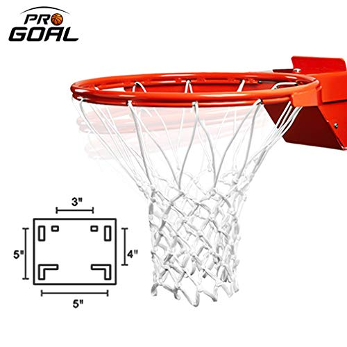 PROGOAL Breakaway Single Spring Basketball Rim, Heavy Duty Flex Rim Replacement 5/8-In, Standard Goal Reinforced Mounting Bracket Fit Most Size Backboards Indoor and Outdoor (Red, Single Spring)