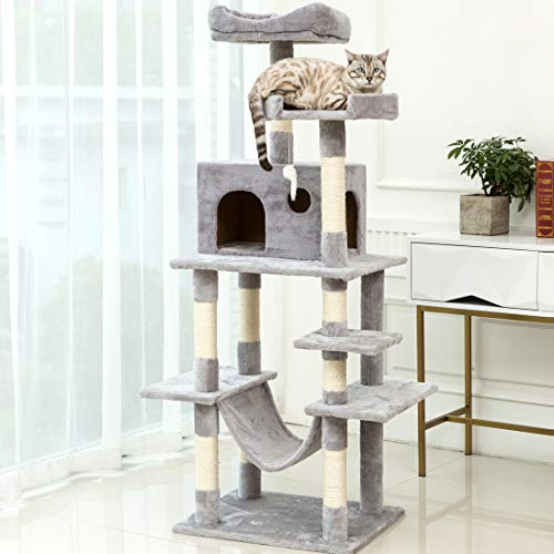 Multi-Level Cat Activity Tree Climbing Tower Scratching Post Condo Furniture Climber House Bed Perch Sisal Rope Big Large Tall Indoor Shelf Swing Hammock Toy for Kitten Pet Play Exercise 64 inch Gray