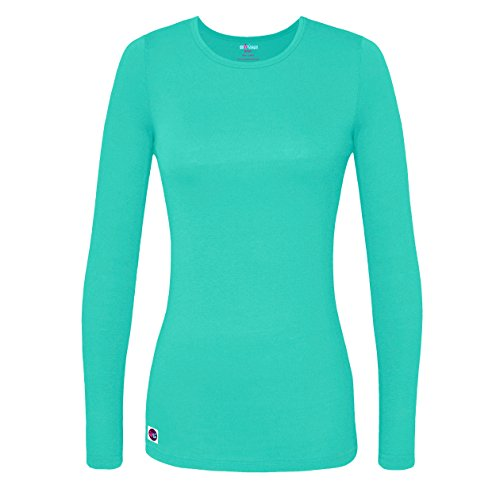 Sivvan Women's Comfort Long Sleeve T-Shirt / Underscrub Tee - S8500 - Sea Glass - - For Long Face Glasses