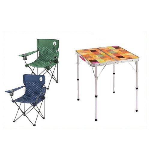 コールマン 3点セット ナチュラルモザイクテーブル リゾートチェア60cm グリーン ネイビー イス 椅子 Coleman 2000026735 2000026736 2000026754 B00R2KB0DC