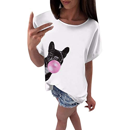 Witspace Womens Fashion Small Dog Print Short Sleeve Tops Blouse T-Shirt Tee