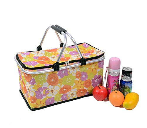 Cocobuy Collapsible Insulated Picnic Bag Insulated Lunch Tote Grocery Shopping Basket Market Tote Carry Basket with Insulated Cooler Compartment (Basket Bag)
