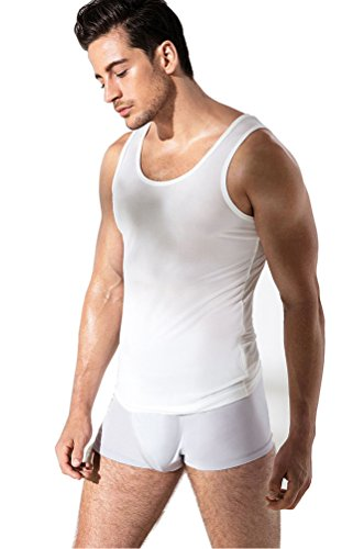Mens Silk Knit Tank Top - Men's Classic Pure Silk Knit Tank Top Solid (Large, White)