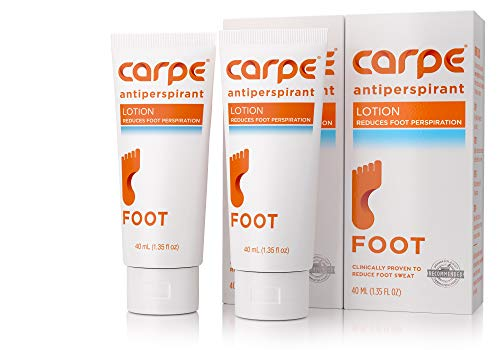 Carpe Antiperspirant Foot Lotion, A Dermatologist-Recommended Solution to Stop Sweaty, Smelly feet, Helps Prevent blisters, Great for hyperhidrosis (Pack of Two) (Best Otc Clinical Strength Antiperspirant)
