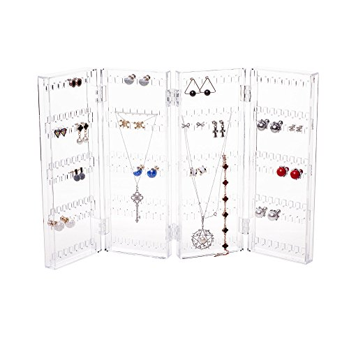 Acrylic Transparent Rack - Foldable 4-Panel Jewelry Screen Hanger Organizer Earrings Necklace Chains Display Stands Choice Fun Transparent QFJJSN-WX-81003