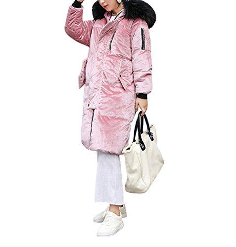 Solid Down Pocket Coat Color Casual Winter Coat Warm Long Hooded Fur Jacket Snow Zipper Women'S PINK Cotton M Jacket Artificial rPrqYn8S