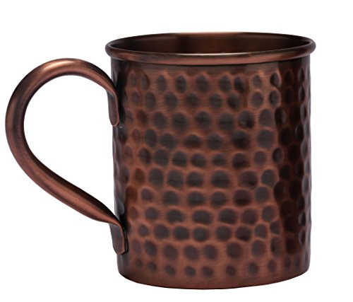 Melange Antique Finish 16 Oz Copper Classic Mug for Moscow Mules - 100% Pure Hammered Copper - Heavy Gauge - No Lining - Includes Free Recipe Card ()