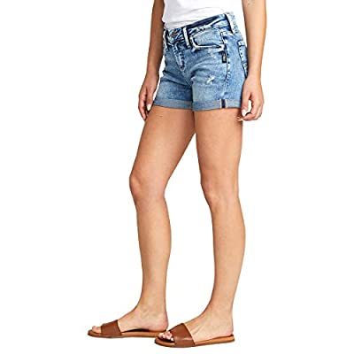 Silver Jeans Co. Women's Elyse Curvy Fit Mid Rise Short: Clothing