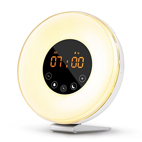 monochef Wake Up Light Sunrise Alarm Clock Multiple Nature Sounds Sunrise Sunset Simulation - Touch Control Snooze Function,10 Brightness Levels, 7 Colors Night Light, FM Radio Digital Alarm Clock