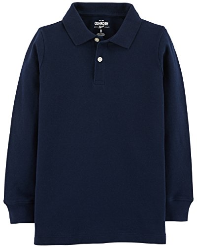 Osh Kosh Boys' Long Sleeve Uniform Polo, Navy, 6 - Blue Long Sleeve Polo Shirt