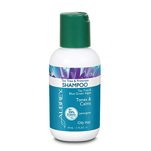 Aubrey Tea Tree & Primrose Shampoo | Tones & Calms Oily Scalp | Blue Green Algae & Evening Primrose | 75% Organic Ingredients | Oily Hair | 2oz