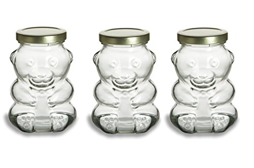 Bear Honey Jar (Nakpunar 9 oz Glass Bear Jars with Lids for Honey, Candies, Piggy Banks (3, Gold))