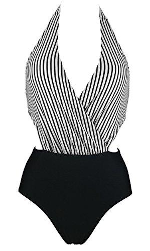 COCOSHIP Women's Plunging Neckline One Piece Bather Swimsuit High Waist Front Cross Swimwear(FBA)
