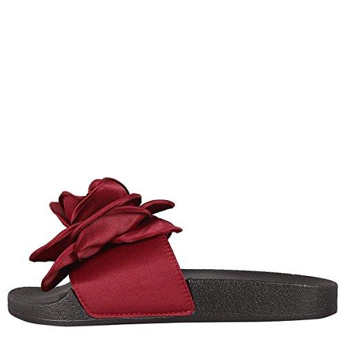 Bamboo Womens Open Toe Oversized Rose Flower Flip Flops Slide Slipper Sandals Shoes Burgundy 8oLEGl7q5T