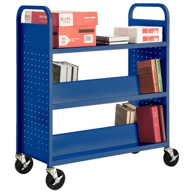 Sandusky Lee SFV336-06 Combination Top Flat Shelf Book Truck, 19'' Length, 39'' Width, 46'' Height, 5 Shelves, Ocean