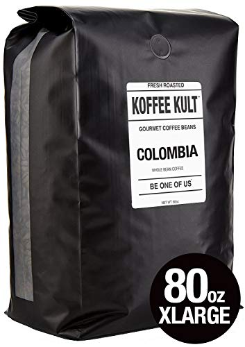 Koffee Kult Colombian Coffee Beans Huila - Highest Quality - Whole Bean Coffee Beans Medium Roasted - Fresh Roasted Roasted Colombian (80oz)