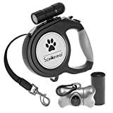 SCENEREAL Retractable Dog Leash - 26 FT Heavy Duty Lead with LED Flash Light & Poop Bag Dispenser for up to 110 LB Medium Large Dogs Outdoor Walking & Training