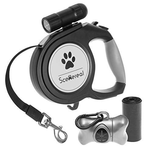 SCENEREAL Retractable Dog Leash - 26 FT Heavy Duty for Medium Large Big Dogs up to 110lbs Outdoor Walking & Training, LED Flash Light & Poop Bags Dispenser Included (Dog Leash Flashlight Retractable)
