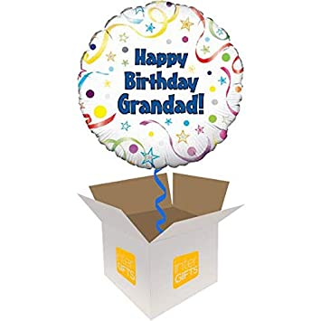 InterBalloon Helium Inflated Happy Birthday Grandad Balloon Delivered In A Box Amazoncouk Toys Games