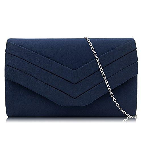 Milisente Women Clutches Velvet Evenlope Evening Bag Classic Clutch Purse (Navy)