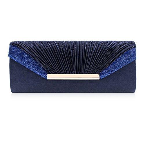 Damara Womens Gentle Pleated Flap Smooth Satin Evening Clutch,Navy Blue ()