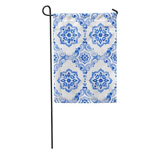 Semtomn Garden Flag Watercolor Royal Blue Filigree Indigo Renaissance Tiling Delicate Sapphirine Openwork Home Yard House Decor Barnner Outdoor Stand 12x18 Inches - Royal Filigree