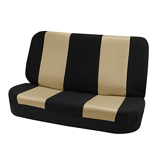FH Group FB102010 Classic Cloth Seat Covers (Beige) Rear Set – Universal Fit for Cars Trucks & SUVs