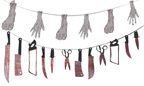 FT.Sky Bloody Weapons Garland Props Halloween Zombie Vampire Party Decorations Haunted House Banner