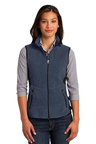 Port Authority Women's R Tek Pro Fleece Full Zip Vest M Navy Heather/ Black ()
