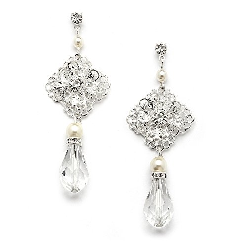 Mariell Vintage Crystal Drop Wedding Bridal Earrings with Glass Pearls - Sterling Silver Plated ()
